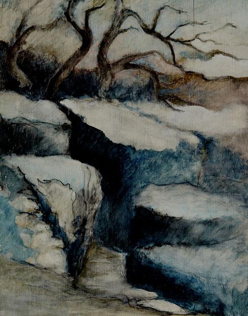 Les Buis au chemin,1990, 57x38 cm.