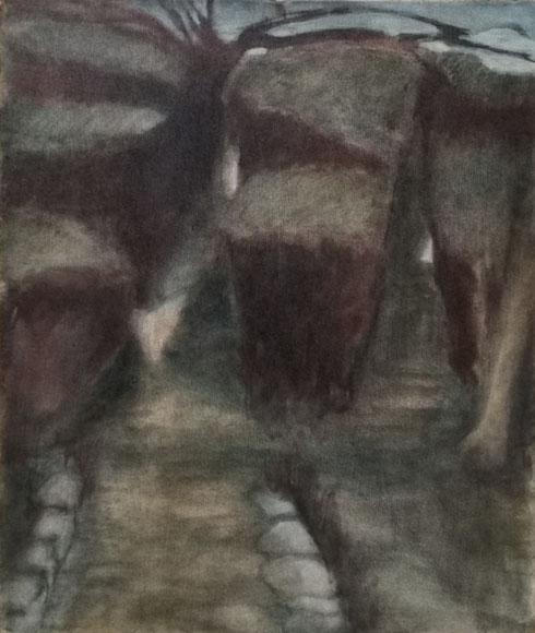 Les buis à l'arbre mort, 1990, 46x38 cm.