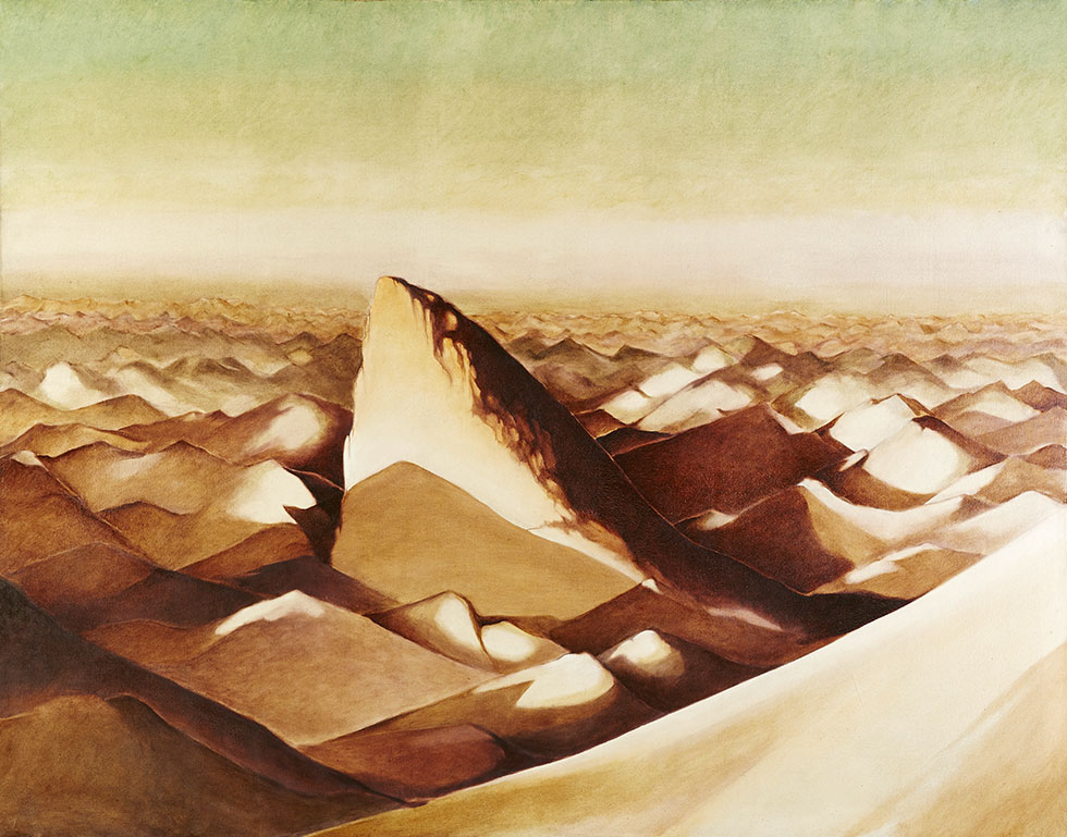 The mountains of L'Ilam in the shape of the fish scales of a shark fin, 170x220 cm.