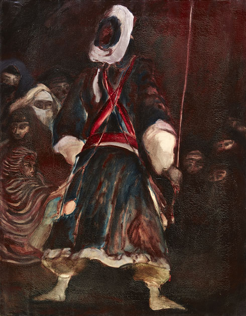 Tall dancer with long arabic scarf