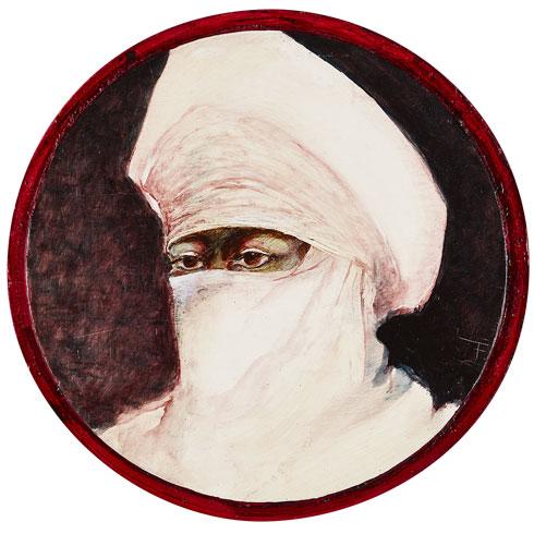 Targui with veiled face, Sliman, diam. 29cm.