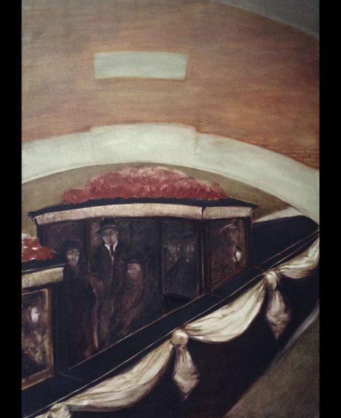 Le corbillard disparait sous le pont, 1984,181x130 cm.