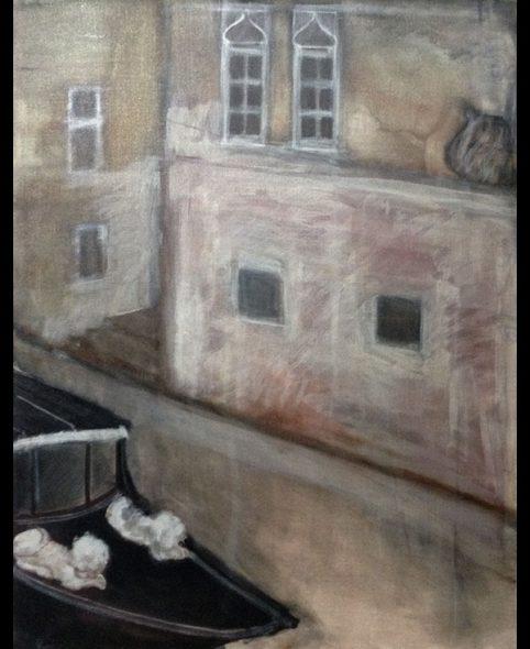 Le corbillard devant la Scuola San Marco, 1984, 146x113 cm.