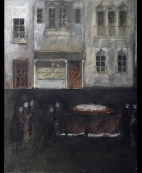 The family surrounds the catafalque, 1984, 140x113 cm.