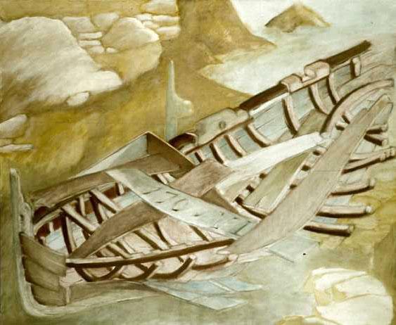 La carcasse de barque échouée I, 1987, 170x206 cm.