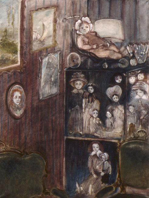 The dolls in the display cabinet, 117x89 cm.