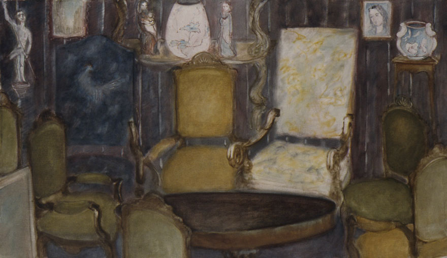 The drawing room and the round table, 86x150 cm.