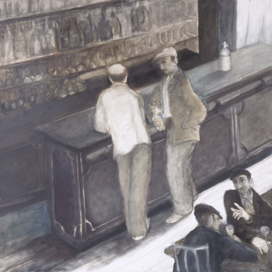 The bar counter, 148x148 cm.