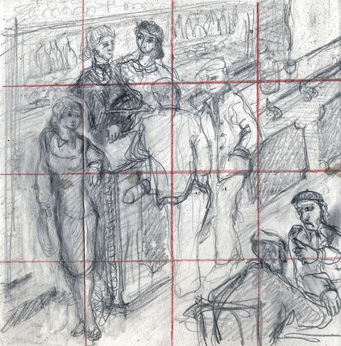 Preparatory drawings Café de l'Univers
