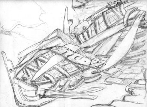 Preparatory drawings, The carcass of the washed up boat.