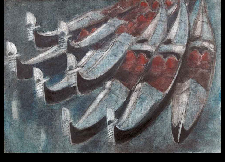 Eight gondolas with red armchairs,1985,45x65cm.