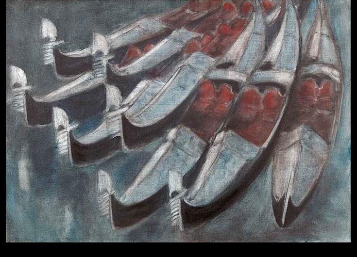 Huit gondoles aux fauteuils rouges, 1985, 45x65 cm.