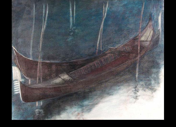 Deux gondoles amarrées la nuit, 1991, 85x106 cm.