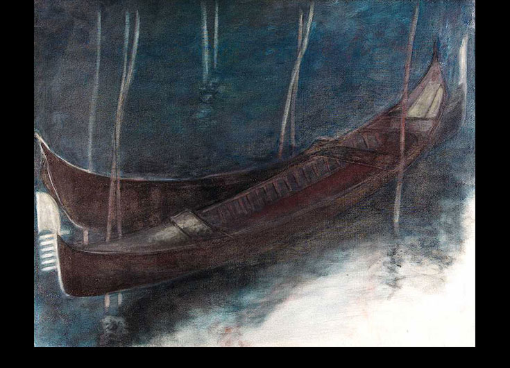 Two moored gondolas at night, 1991, 85x106cm.
