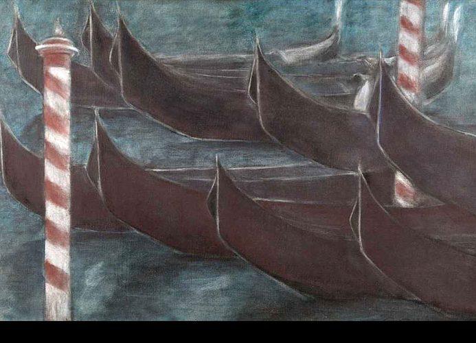 Les gondoles aux deux poteaux rouge et blanc, 1988, 60x92 cm.
