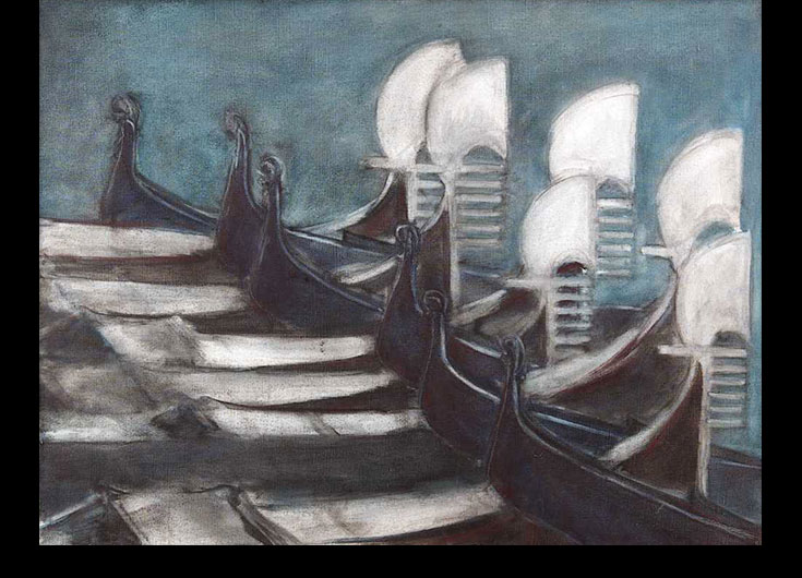 The gondolas parking, 1989, 54x70 cm.