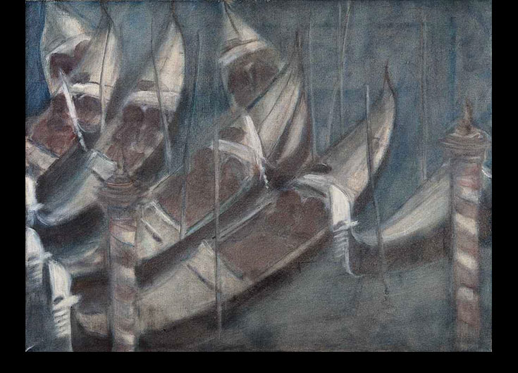 "The seven gondolas docked to the ""Pali"" (stake), 1985, 47x81 cm."