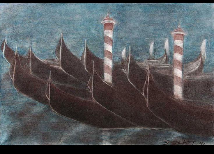Gondoles amarrées aux deux Pali, 1991, 54x81 cm.
