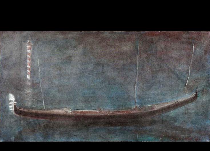 A moored gondola, 1988, 46x85 cm.