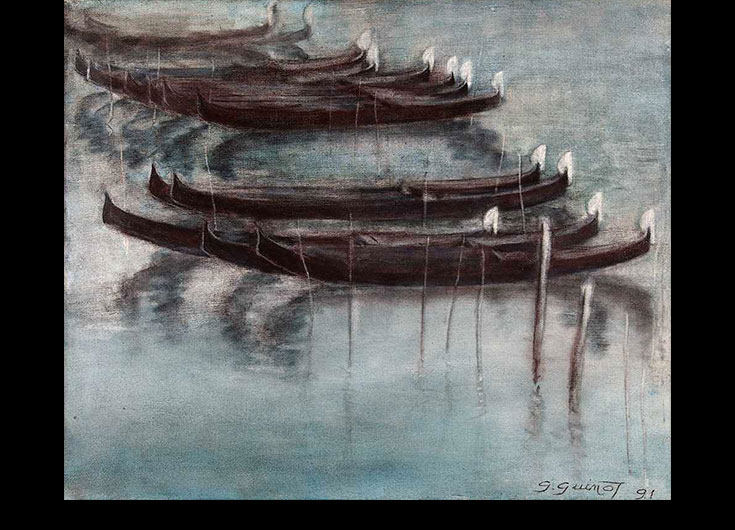 Gondolas with the lagoon as backdrop, 1991, 49x59 cm.