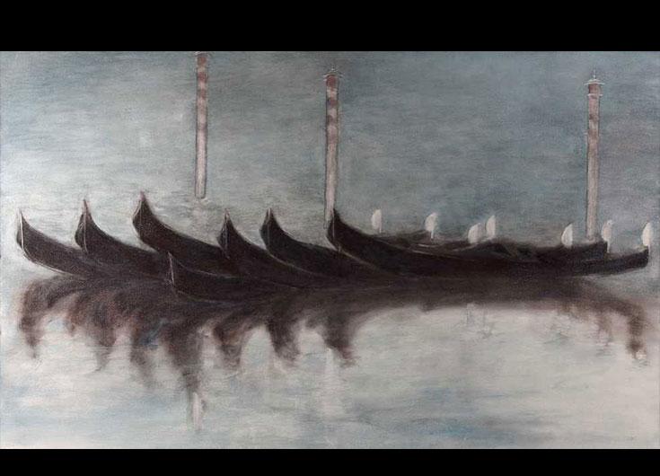 Crépuscule sur la lagune, 1991, 90x146 cm.