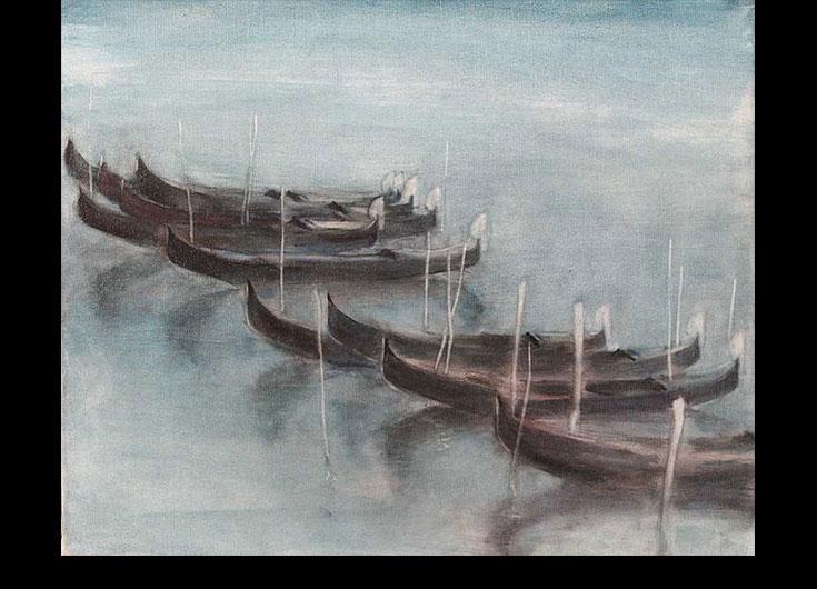 Nocturne, three gondolas, 1991, 46x55 cm.