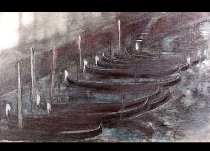 Moored gondolas at night, 1991, 73x116 cm.