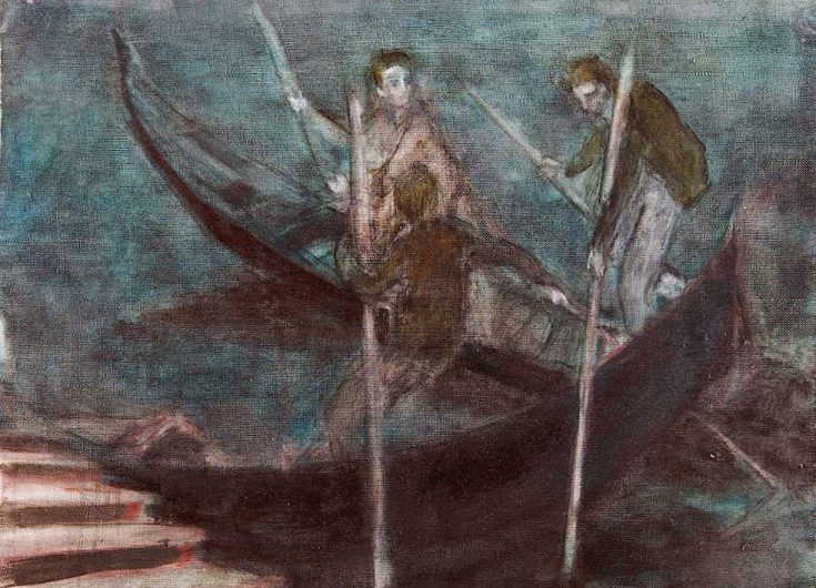 Two rowers at the mooring,1989, 53x70 cm