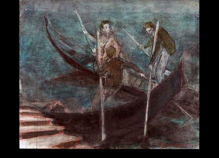 Les deux rameurs à l'amarrage,1989, 53x70 cm.
