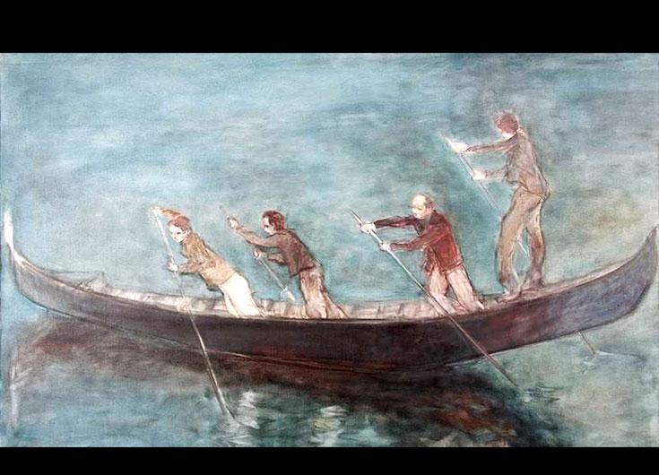 Les quatre rameurs, 1989, 90x146 cm.