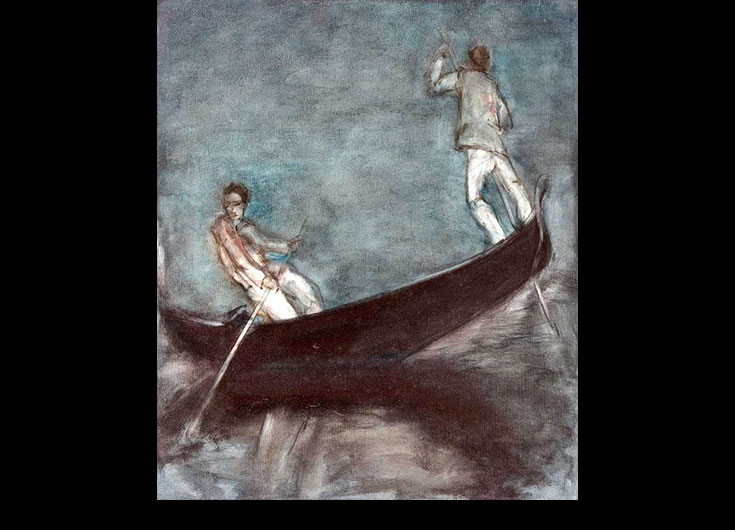 Two rowers docking, 64x55 cm.
