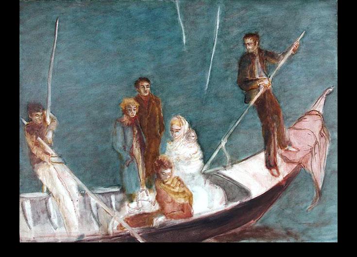 Le couple et la femme à l'enfant, 1987, 106x140 cm.
