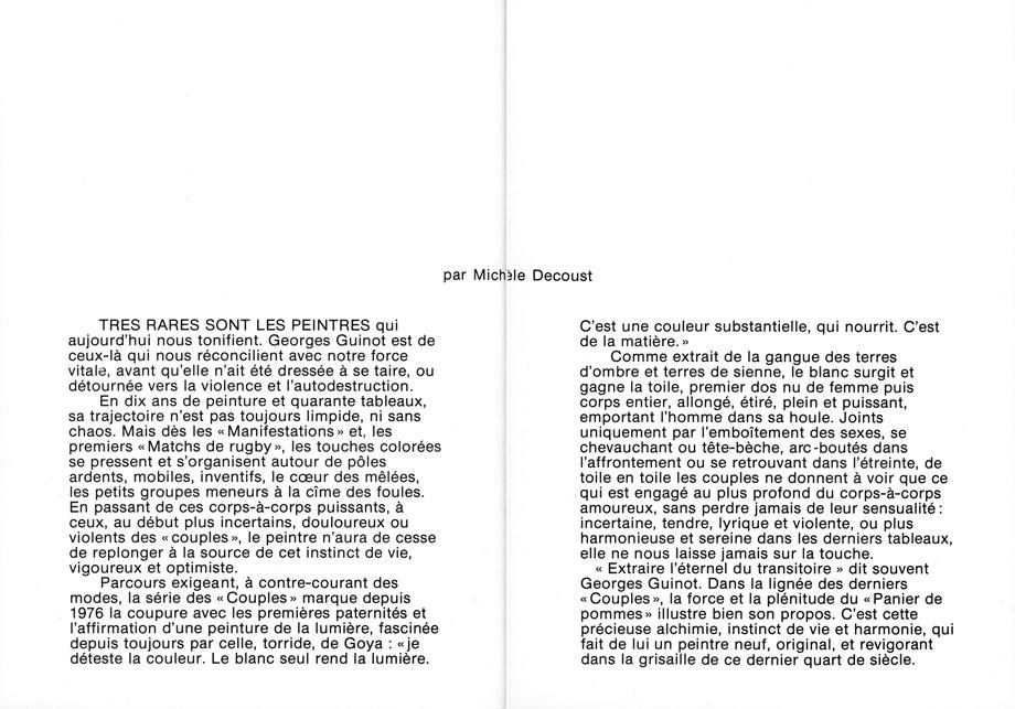 Dépliant exposition Palais des Arts et de la Culture de Brest 1981 - Texte de Michèle Decoust