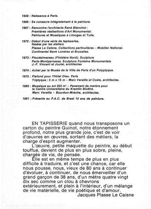 Dépliant exposition Palais des Arts et de la Culture de Brest 1981 Text Jacques Plasse Le Caisne