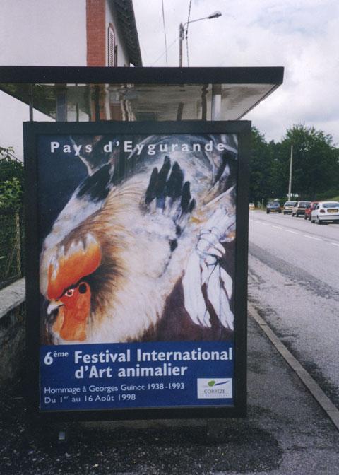 Photo affiche sur abribus du festival d'art animalier en pays d'Eygurande, 1998
