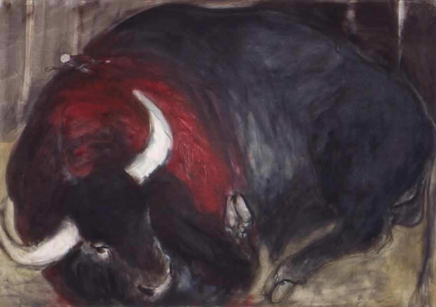 The bull is hit, and in its death throes, 90x165 cm.