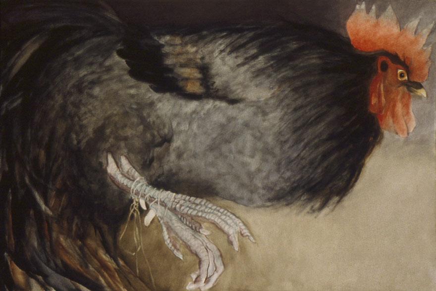 Le coq noir, 80x130 cm.