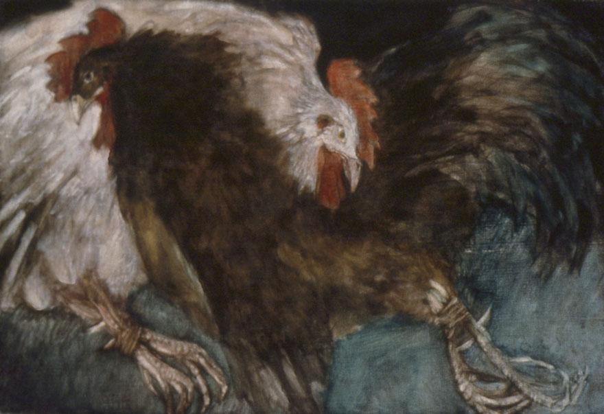 Two cocks, 50x76 cm.